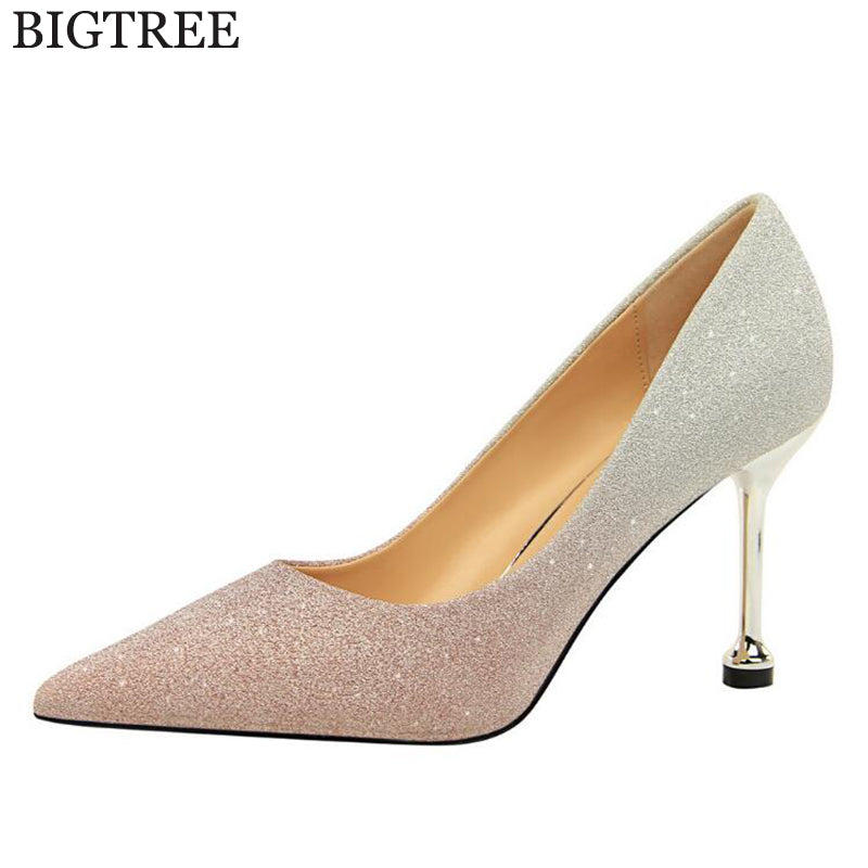 4672ad990ca 2019 new Gold Silver Women Pumps Bling High Heels Women Pumps Glitter High Heel  Shoes Woman ...