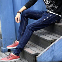 Men Jeans Pant new arrival elasticity jeans high quality Comfortable Slim pants blue and black. - inaaz.biz