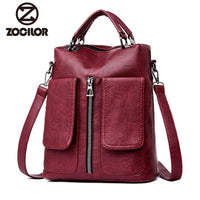 2019 soft Women Backpacks Women's pu  Leather Backpacks Female school backpack women Shoulder bags for teenage girls Travel Back - inaaz.biz