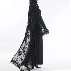 Abaya Muslim Dress Dubai 2019 Luxury High Class Sequins Embroidery Lace Kaftan Islam Women Turkish
