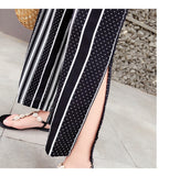 2019 Fashion Summer Split Pants  Wide Leg Women High Waist Plaid Striped Loose Palazzo Pants Elegant Office Ladies Trousers 60G3