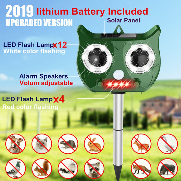 Solar Ultrasonic Animal Repeller with 1500mAh Lithium Battery Waterproof  Animal Pest Repeller