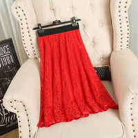 Women Skirt Spring And Summer Waist Gauze Lace Skirt Thin A A-line Long Skirt