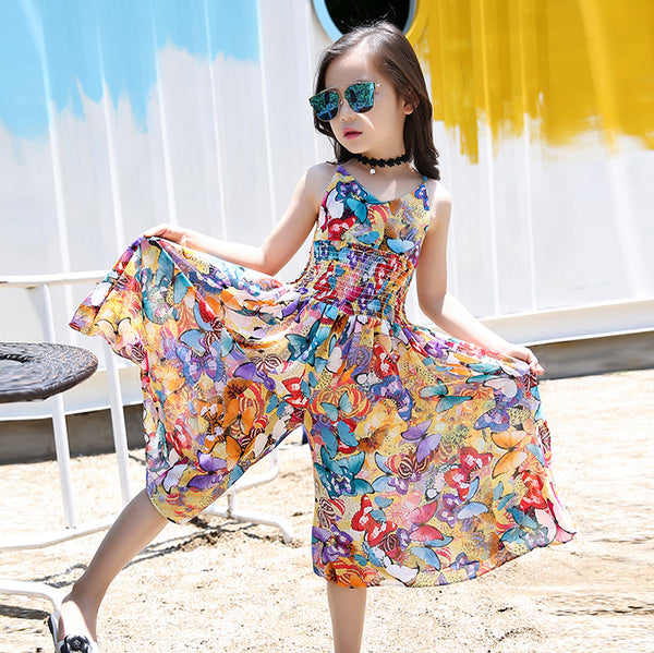 Girls Dress Bohemia Children Dress Summer Floral Party Dress For 6 -14 Year Girls