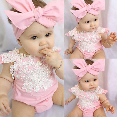 ca12f4891 Romper for baby girls Newborn Jumpsuit Lace Floral Clothes Headband 2PCS  Pink