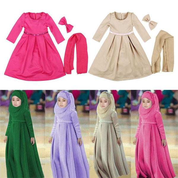 Girls Dress 3 Peice Hijab Bow Dress Islamic Abaya Kids Long Sleeve Maxi Dress