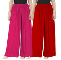 Women Palazzo VOXVIDHAM Women's Rayon Palazzo (Pink, Red, Free Size) - Pack of 2