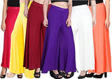 Women Palazzo 6 Per Set Stretchy Malia Lycra Wide Leg Palazzo Pants Pack of 6 (Free Size)