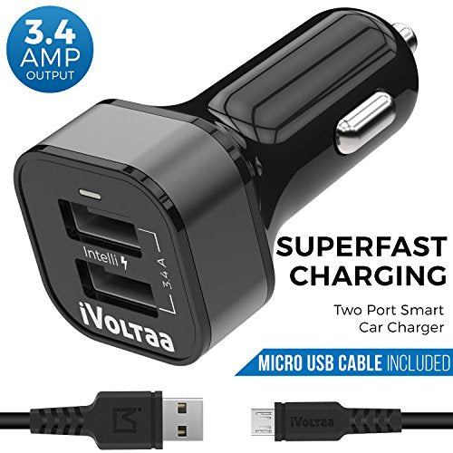 Car Mobile Charger iVoltaa 3.4A Dual Port Car Charger with Micro USB Cable
