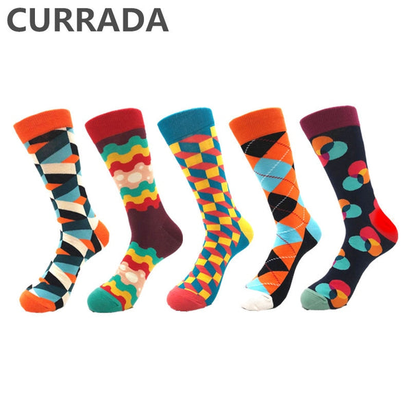 5pairs/lot Brand Quality Men Socks Combed Cotton colorful Happy Funny Socks Hot Sale fashion Casual long Mens compression socks - inaaz.biz
