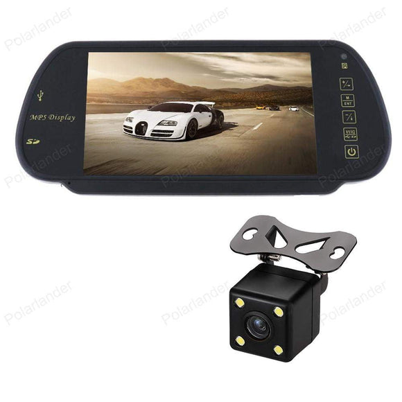 7 Inch Car Monitors MP5 Video player Rear View Mirror Monitor Support SD/USB FM Radio With 4 LED Reverse CCD Parking Camera