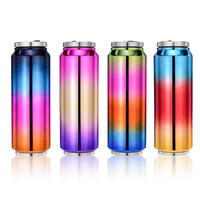 720ml Large Capacity Straw Thermos Mug Colorful Cans Stainless Steel Vacuum Flask Leak-Proof Thermal Water Bottle Nice Gifts