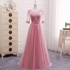 Women Dress A-line Half Sleeve Tulle Lace Evening Dress Elegant Gowns Wine Red Green Blue Grey Pink 1