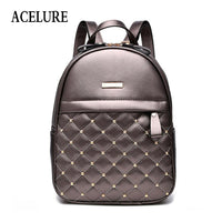 ACELURE Women Backpack Hot Sale Fashion Causal bags High Quality bead female shoulder bag PU Leather Backpacks for Girls mochila - inaaz.biz