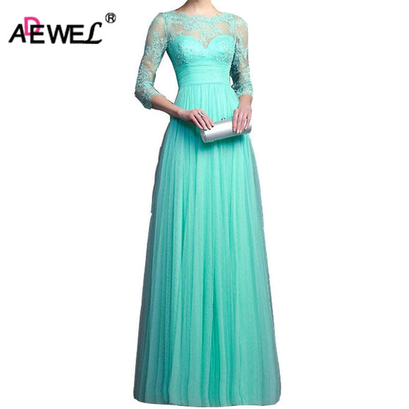 Women Wedding Dress Evening Party Dress Elegant Womens Floor-Length ADEWE Chiffon Lace Maxi