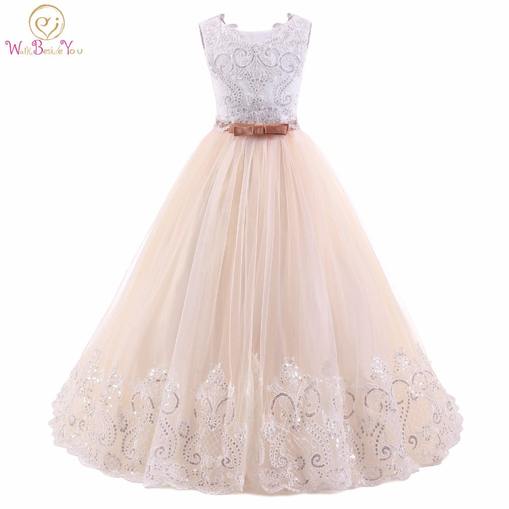 c3d4610ac9 Abito Comunione Champagne White Flower Girl Dresses Sleeveless Ball Gown  Kids Evening Gown vestido comunion Prom Dresses Girls