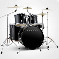 Professional Music Jazz Drum Set Kit, 5 Drums 4 2 Cymbals Double Oil Skin Drum Alloy Musical Instruments