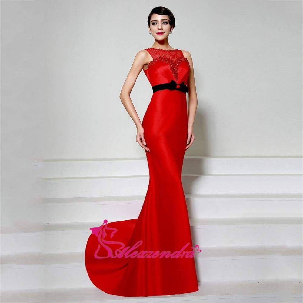 8b90505c18ae Alexzendra Red Sexy Scoop Neck Mermaid Formal Evening Dress Long robe de  soiree Illusion Back Evening Gown for Women 1 2
