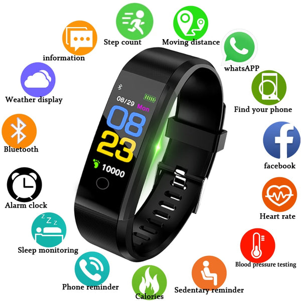 Smartwatch BANGWEI New Heart Rate Blood Pressure Monitor Fitness Tracker Watch for ios android - inaaz.biz