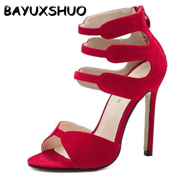e565cae212 BAYUXSHUO Brand Gladiator High Heels Sandals Women Sexy Open Toe Cut Outs  Shoes Zipper Wedding Party