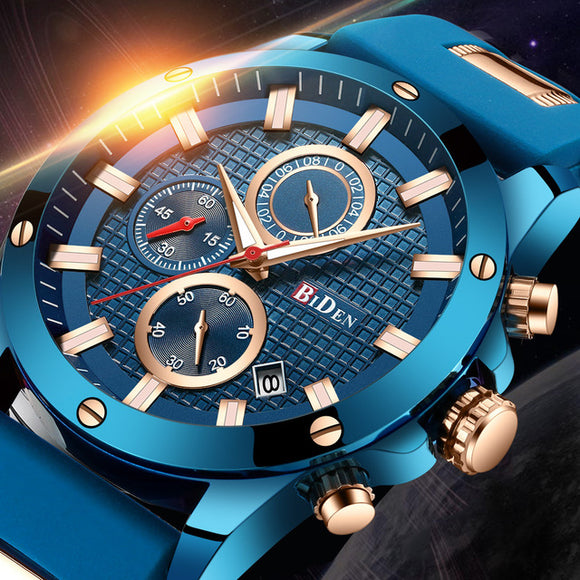 BIDEN Watch Luxury Blue Golden Sport Men Watch Top Brand Fashion Militatry Casual Male's Wristwatch Waterproof Watches