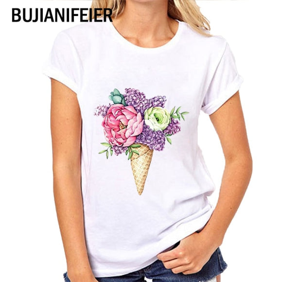 Women T-shirts BUJIANIFEIER VOGUE FLOWER fashion new T-shirt cartoon print T-shirt
