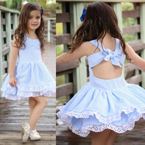 Baby Girl Dress Summer Clothes Stripe Lace Party Pageant Princess Dress Sleeveledd Striped Backless