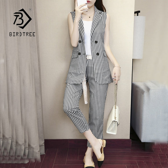 Black White Plaid Double Breasted Notched Women Blazer Vest & High Waist Pants Elegant Office Lady Blazer Suits Hots S87440X