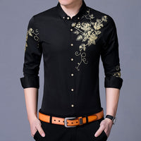 Wine Red Men Shirt, New Fashion Golden Rose Flower Print Button Down Slim Fit Long Sleeve Shirt