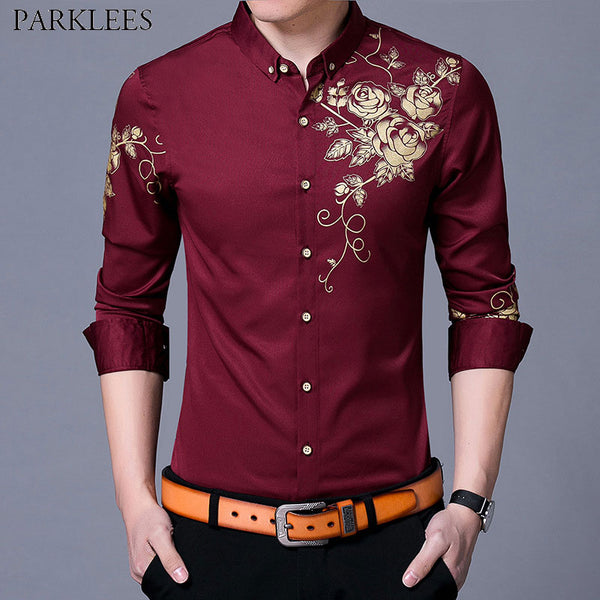 Wine Red Men Shirt, New Fashion Golden Rose Flower Print Button Down Slim Fit Long Sleeve Shirt - inaaz.biz
