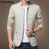 Men Jackets British Style Slim Fit Stand Jackets Windbreaker Coat Cotton Solid Casual Jacket 5XL