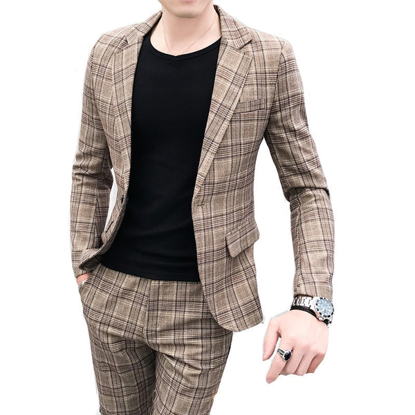Men Suit British style two-piece suit coat  pant men blazer new high quality plaid printed slim suit - inaaz.biz