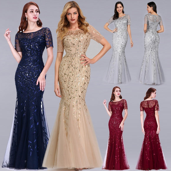 Women Dress Burgundy Pretty Elegant Mermaid O Neck Sequined Wedding Party Dress Formal Gowns Robe