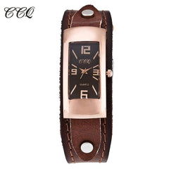 CCQ Brand Genuine Leather Women Bracelet Watch Fashion Casual Ladies Female Quartz Watches Wrist Watch Gift Relogio Feminino