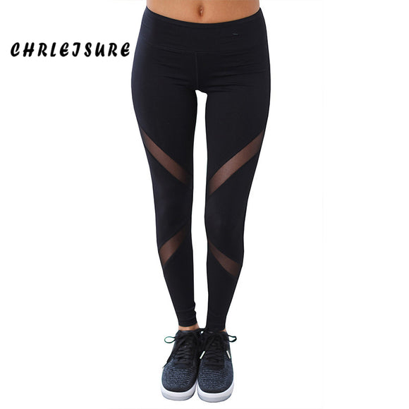22e0bc0871a5d CHRLEISURE Sexy Women Leggings Gothic Insert Mesh Design Trousers Pants Big  Size Black Capris Sportswear New