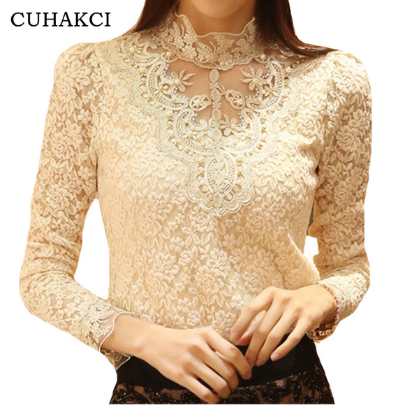 Women Blouse CUHAKCI Sexy Shirt Long Sleeve Lace Tops Casual Elegant Black White