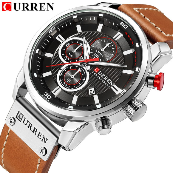 CURREN Luxury Brand Men Military Sport Watches Men's Quartz Clock Leather Strap Waterproof Date Wristwatch Reloj Hombre