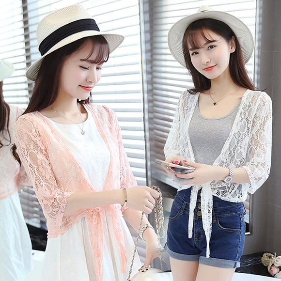 Women Shrug Carol Diaries Summer Thin Three Quarter Sleeve Handmade Crochet Lace Mesh Cardigan Elegant Tops