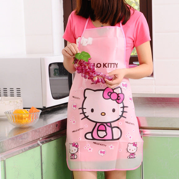 Cartoon Aprons Kitty Dora Bib Apron Cartoon Long Sleeve Cuff Waterproof Aprons Gowns Suits For Women Kitchen Apron