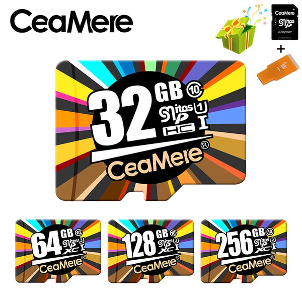Ceamere Memory Card 256GB 128GB 64GB U3 UHS-3 32GB Micro sd card Class10 UHS-1 flash card Memory Microsd TF/SD Cards for Tablet - inaaz.biz