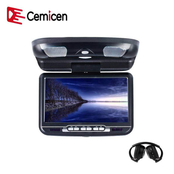 Cemicen 9 inch Car Roof Mount Flip Down Monitor LED Digital Screen DVD Player IR FM Transmitter USB SD MP5 Support 32 Bits Game