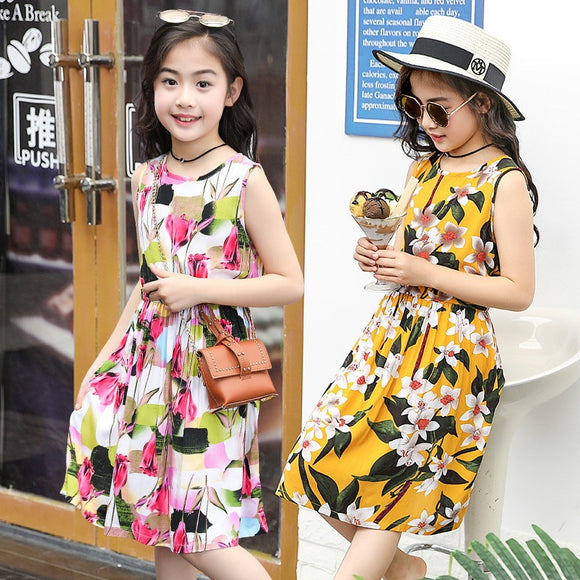 Girls Dress Cotton Vestidos Kids Teenager Casual Flower Print Beach Children Clothing Summer Dress