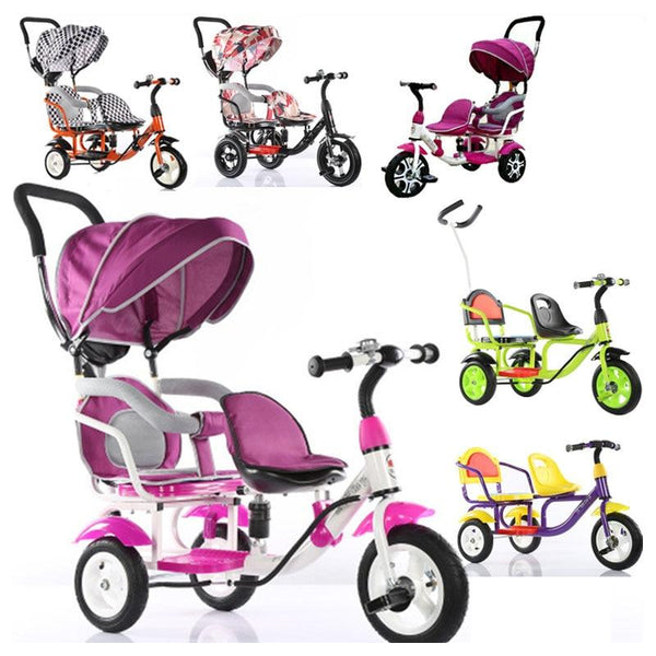 Children Tricycle Bike Double Bicycle Twins Baby Stroller Kids Double Bike Umbrella Pram Buggy - inaaz.biz