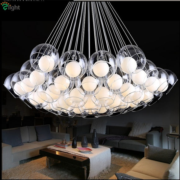 Classic Modern Led G4 Pendant Chandelier Lustre 3 Styles Double Glass Shades Fishing Cord Plated Chrome Led Hanging Light