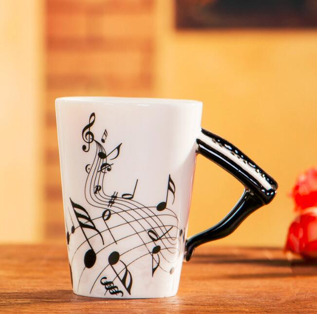 Buy Cheap Creative Music Style Guitar Ceramic Mug Coffee Tea Milk Stave Cups With Handle Coffee Mug Novelty Gifts Red Guitar Black Kitchen,dining & Bar Home & Garden