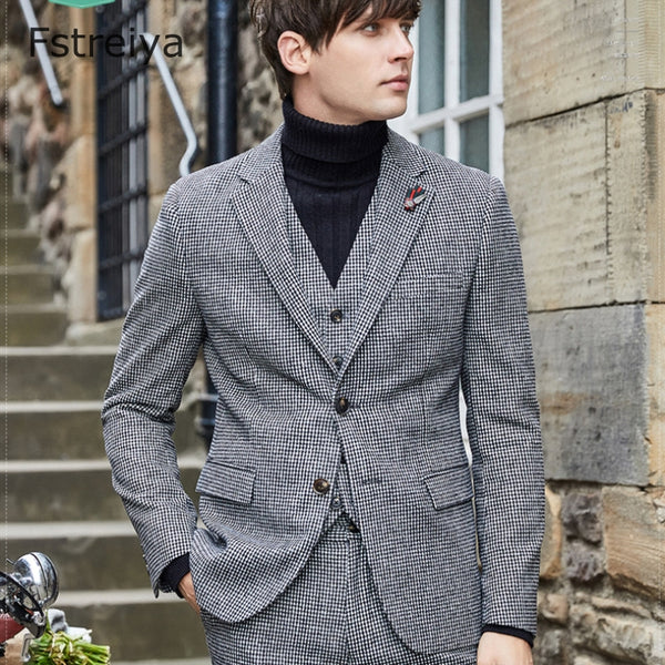 Men Suits with Pants Custom made woolen houndstooth wedding coustume Casual men suit clothes 3 pieces - inaaz.biz