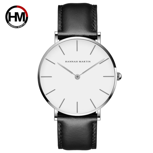 High Quality Rose Gold Dial Watch Men Leather Waterproof Wristwatch Women Dress Fashion Japan Quartz Movement Saat