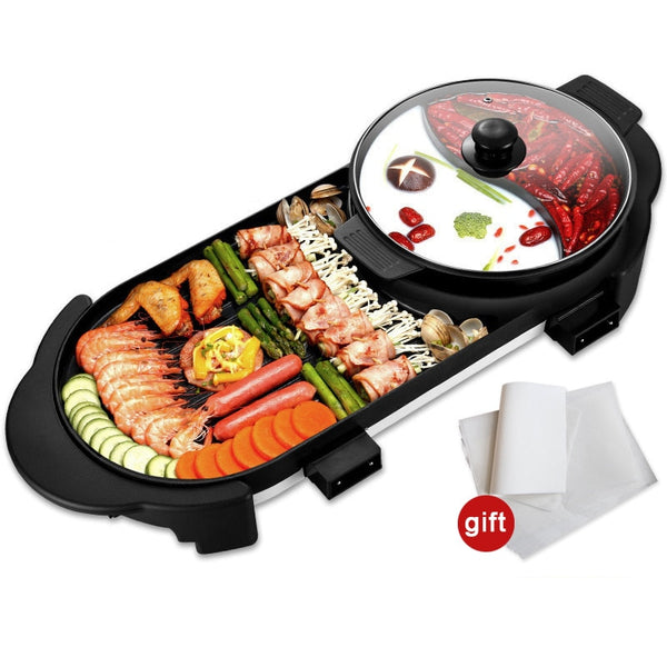 Electric BBQ Grill, Two flavor Hot Pot, Smokeless Barbecue Machine, Electric Oven Cabob Machine - inaaz.biz