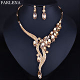FARLENA Wedding Jewelry Fashion Crystal Rhinestones  Necklace Earrings set for Women Wedding Party  Bridal Jewelry sets