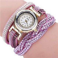 Fashion Casual Quartz Women Rhinestone Watch Braided Leather Bracelet Watch Gift Relogio Feminino Gift wholesale Free shipping - inaaz.biz